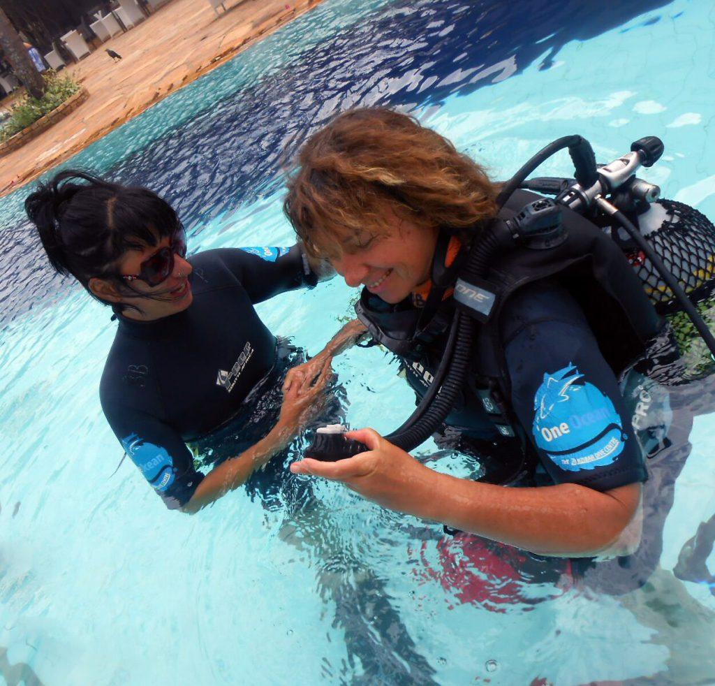 Scuba diver pool course
