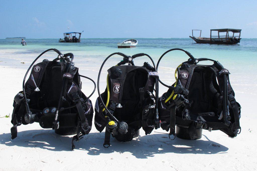Zanzibar Dive quipment at the beach