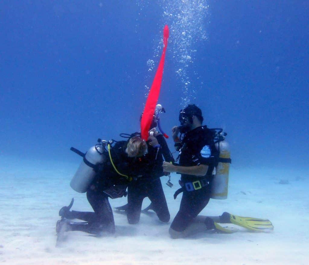 Diver practicing DSMB